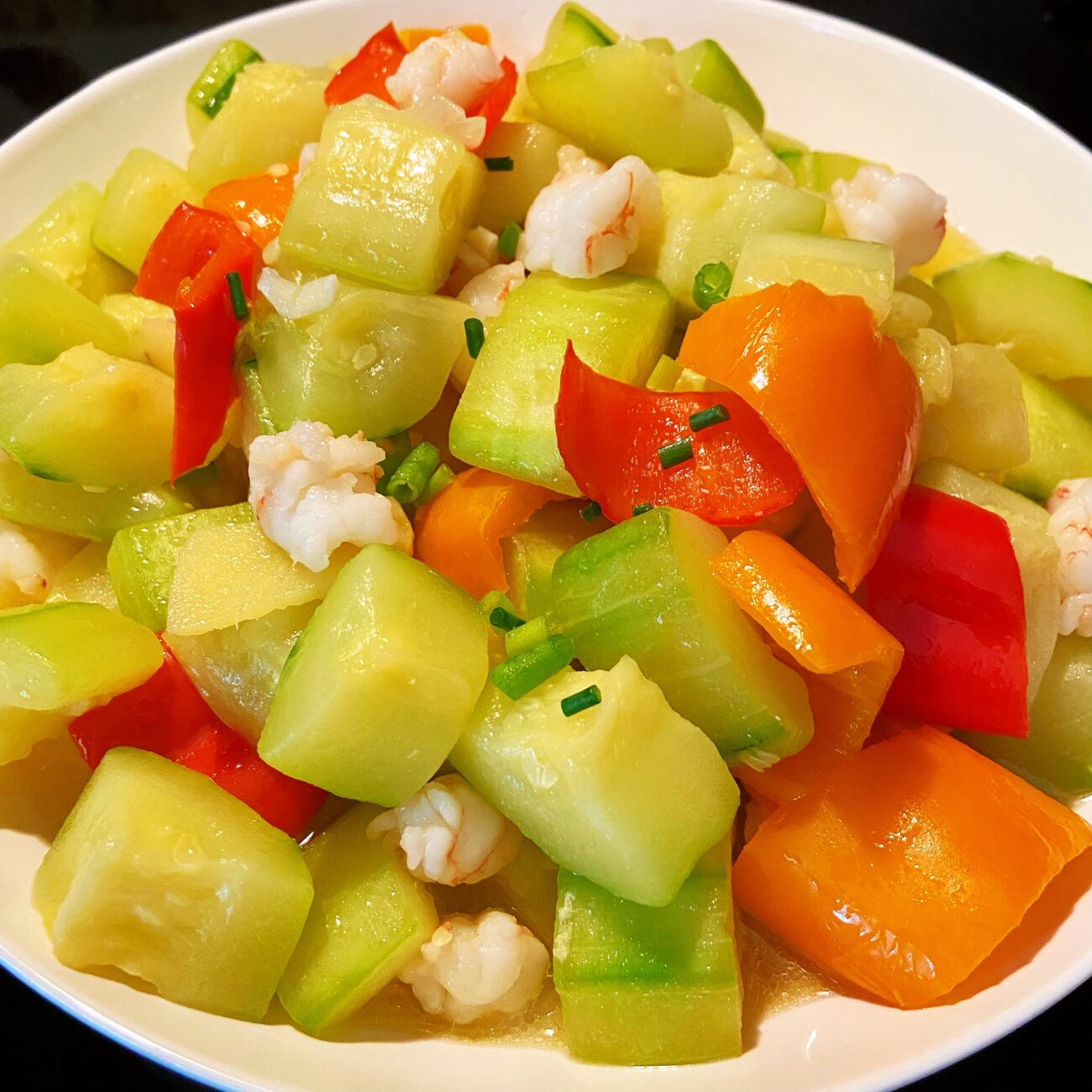Shrimp, Cucumber and Pepper