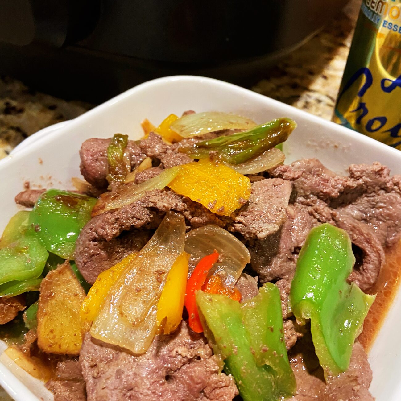 Grilled Calf Liver with Onion and Pepper